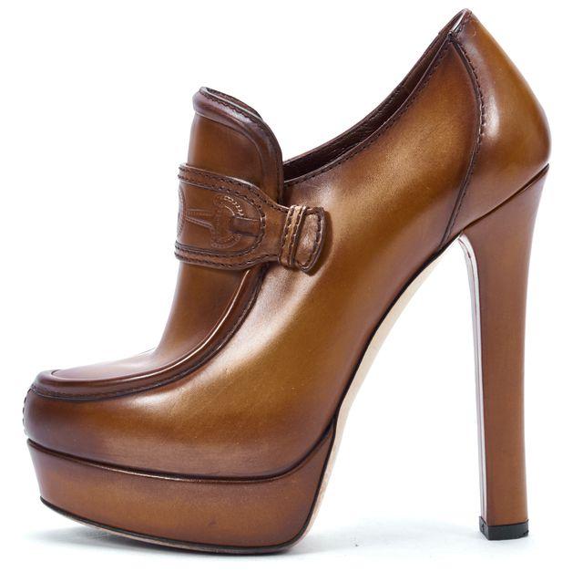 GUCCI Brown Leather Platform Ankle Booties Heels