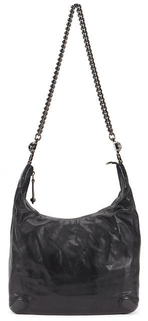 GUCCI Black Leather Galaxy Gunmetal Chain Link Medium Zip Satchel Shoulder Bag