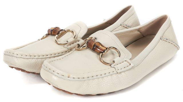 GUCCI Ivory Cream Pebble Grain Leather Bamboo Horsebit Loafers