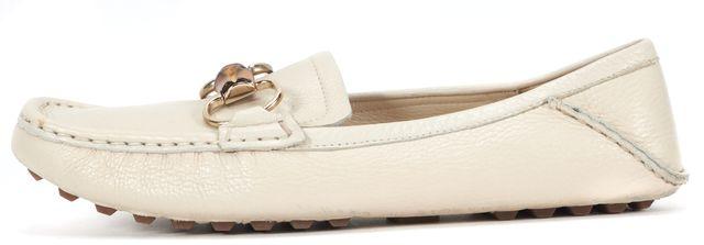 GUCCI Ivory Cream Pebble Grain Leather Bamboo Horsebit Loafers