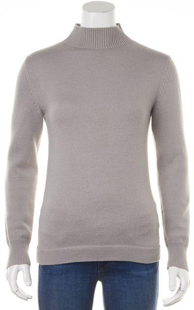 GUCCI Gray 100% Wool Thin Knit Long Sleeve Turtleneck Sweater
