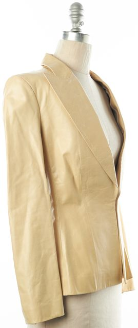 GUCCI Ivory Casual Clasp Front Classic Fitted Leather Career Dress Blazer