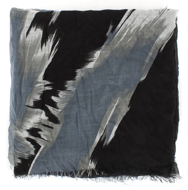 GUCCI Black Gray Abstract Printed Sheer Cashmere Blend Scarf