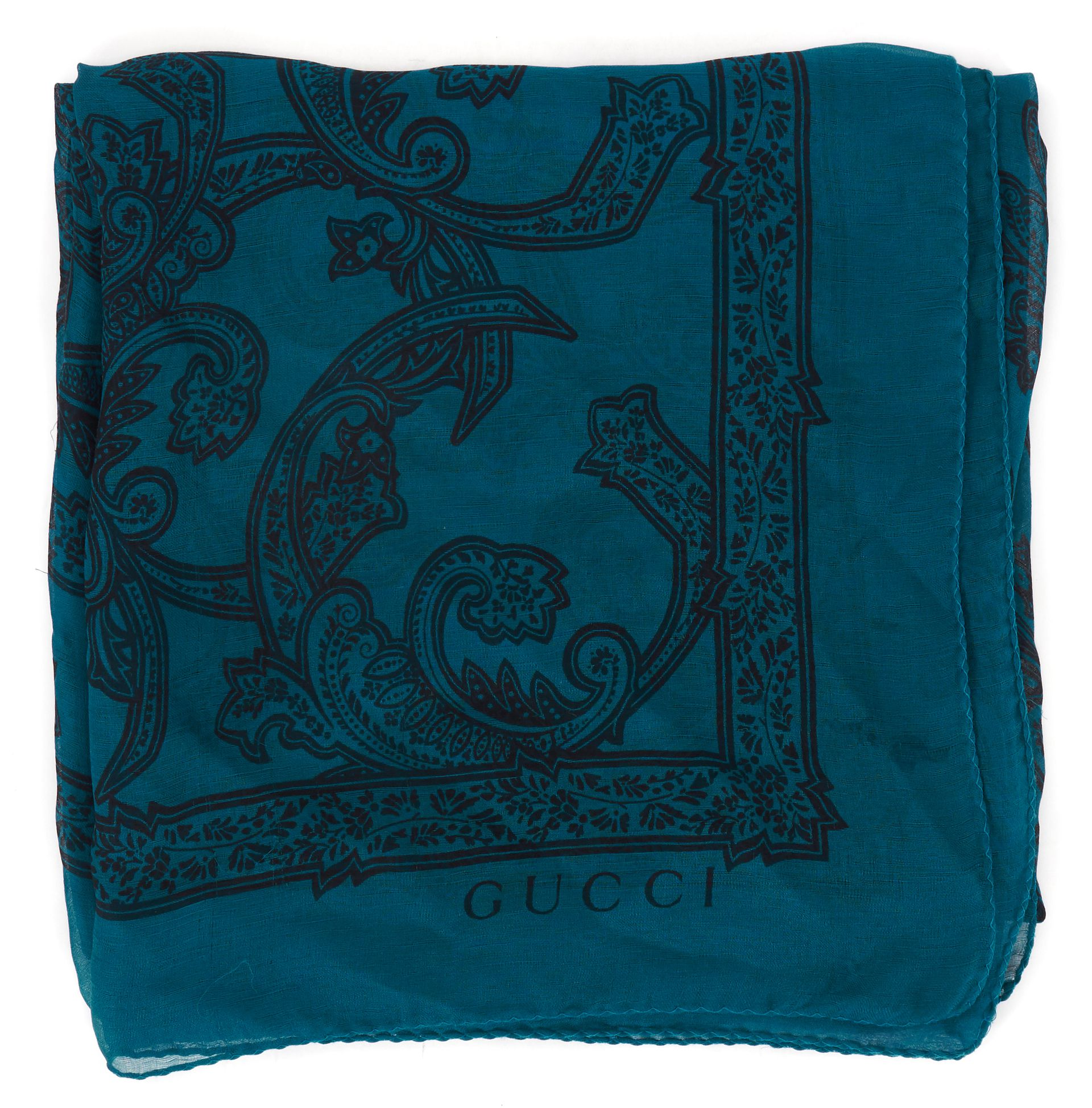 GUCCI Teal Blue Black Paisley Printed Sheer Silk Large Square ...