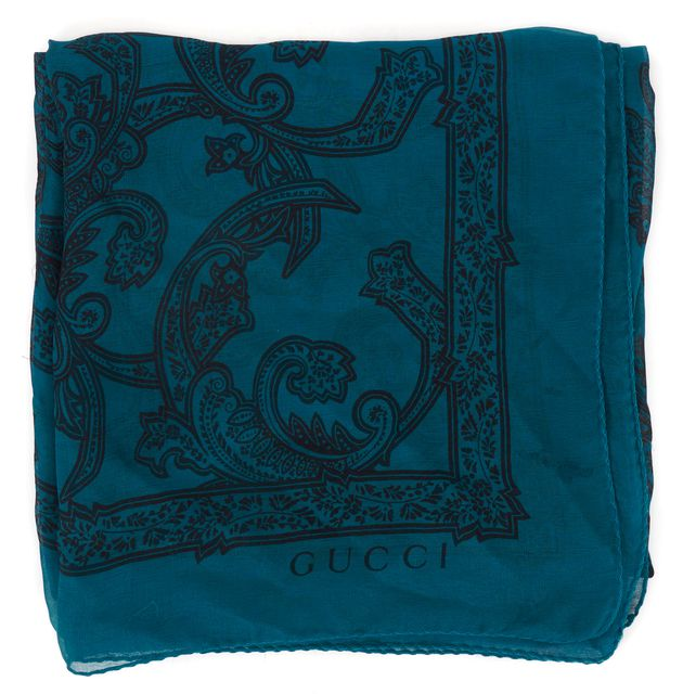 GUCCI Teal Blue Black Paisley Printed Sheer Silk Large Square Scarf