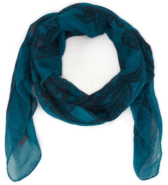 GUCCI Teal Blue Black Paisley Printed Sheer Silk Large Square Scarf