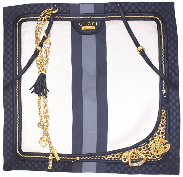 GUCCI Gray Gold Monogram Chainlink Print Scarf