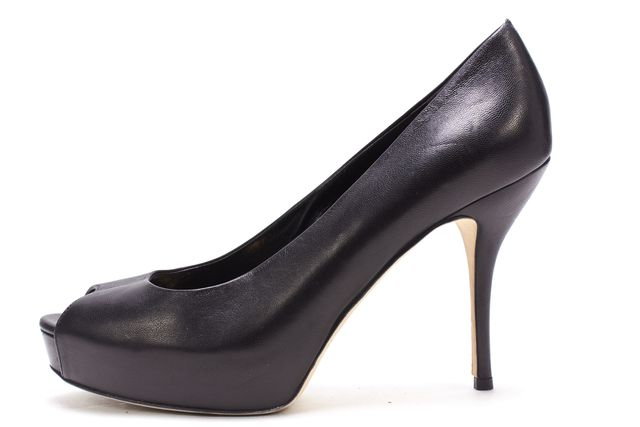 GUCCI Black Leather Peep Toe Pump Heels