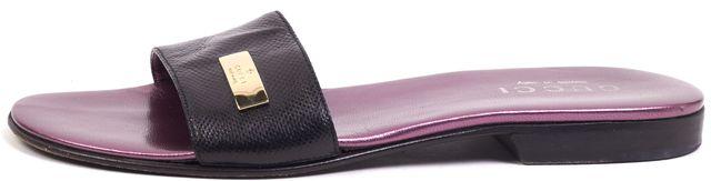 GUCCI Black Snake Embossed Leather Flat Slide Sandals