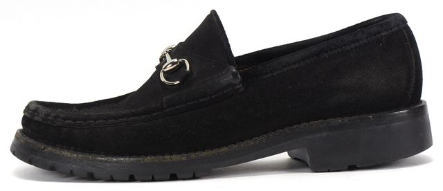 GUCCI Black Suede Silver Horsebit Loafers