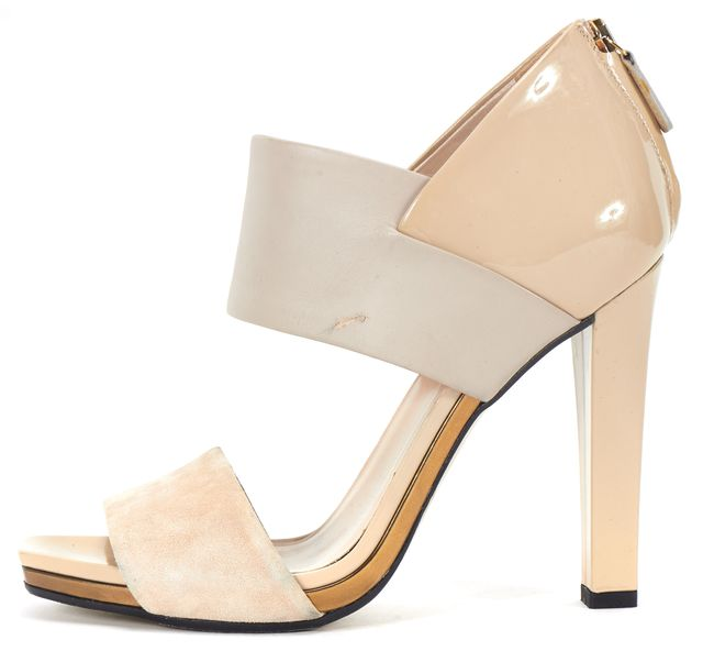 GUCCI Gray Beige Patent Leather Suede Heel Sandals