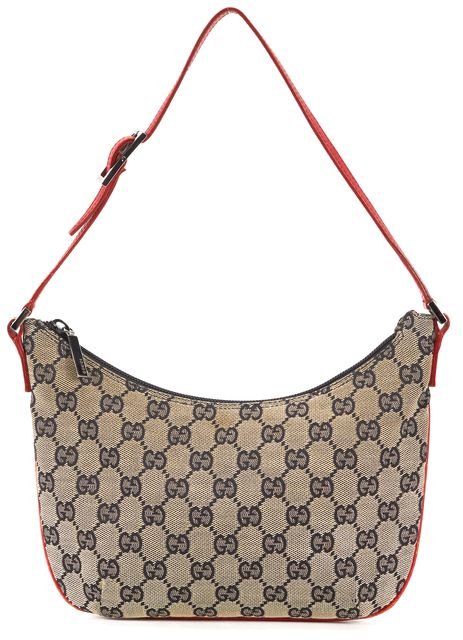 GUCCI Brown Red Leather Trim GG Monogram Canvas Shoulder Bag