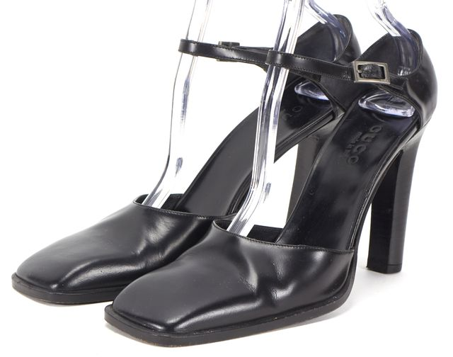 GUCCI Black Leather Mary Jane Square Toe Pump Heels