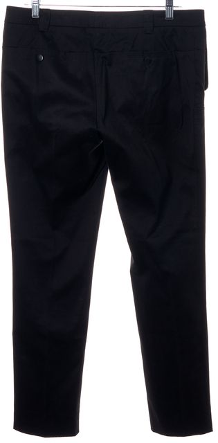 GUCCI Black Stretch Cotton Pleated Trouser Dress Pants