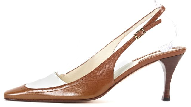 GUCCI Tan Brown White Leather Pointed Square Toe Casual Slingback Heels