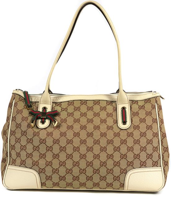 GUCCI Ivory Brown Beige GG Monogram Canvas Top Handle Shoulder Bag