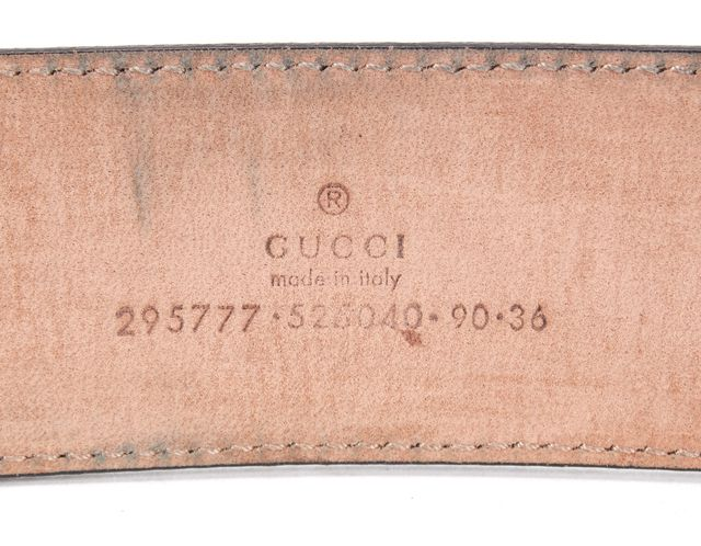 GUCCI Gray Coated Canvas GG Belt