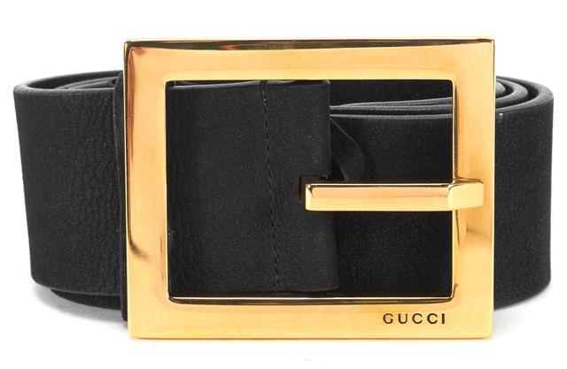 GUCCI Black Nubuck Leather Gold Tone Hardware Wide Belt