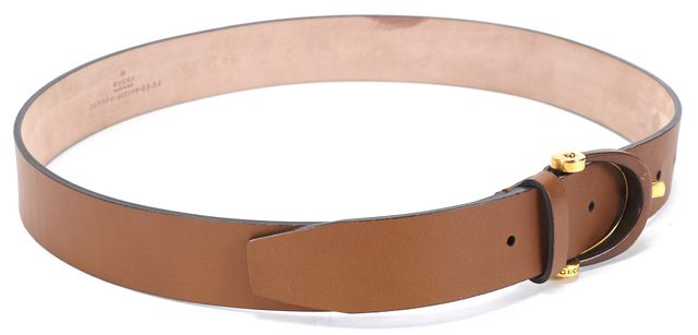 GUCCI Brown Leather Gold Tone Hardware Belt