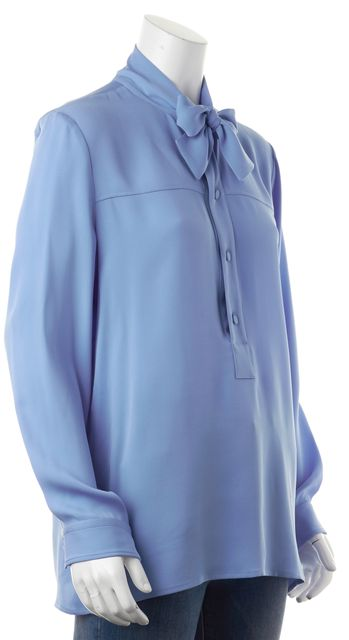 GUCCI Blue Silk Relaxed Fit Tie Neck Collar Blouse Top