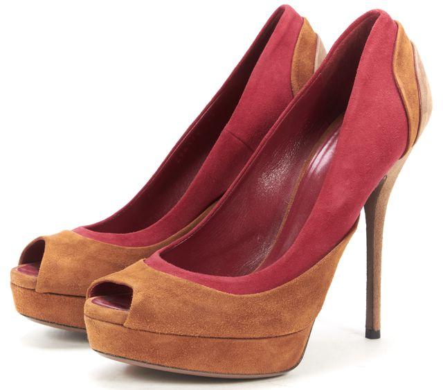 GUCCI Brown Red Beige Suede Peep-Toe Platform Heels