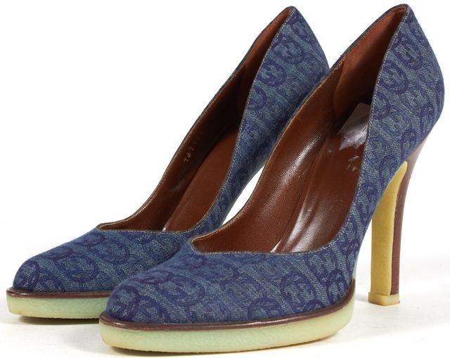 GUCCI Blue Interlocking GG Logo Denim Rubber Sole Stacked Heels