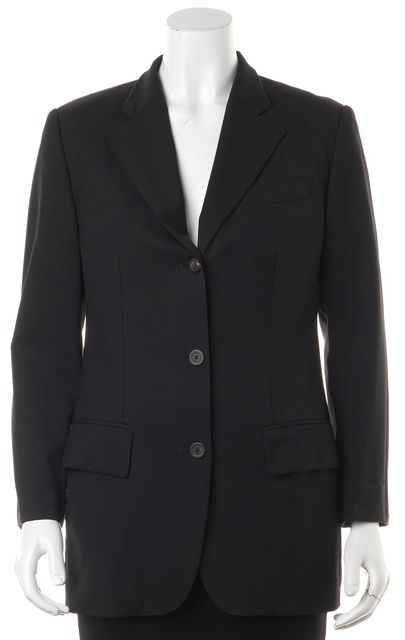 GUCCI Black Wool Three Button Blazer Jacket