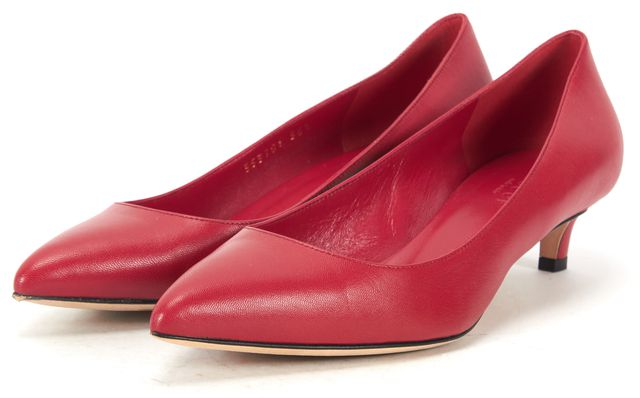 GUCCI Orange Red Leather Pointed Toe Low Pump Kitten Heels