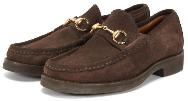 GUCCI Brown Suede Gold Horsebit Loafers