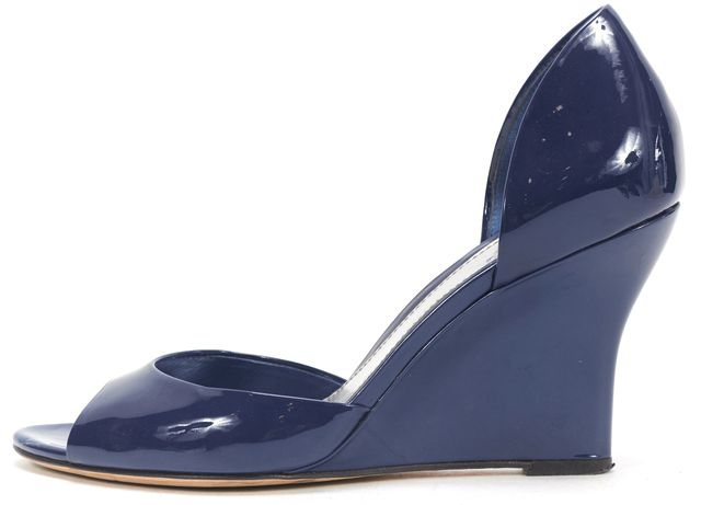 GUCCI Royal Blue Patent Leather d'Orsay Open Toe Wedges