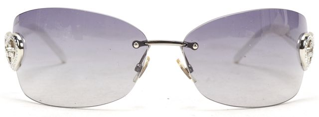 GUCCI White Acetate Rimless Rectangular Gradient Lens Sunglasses w Case