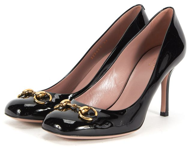 GUCCI Black Patent Leather Horsebit Pumps