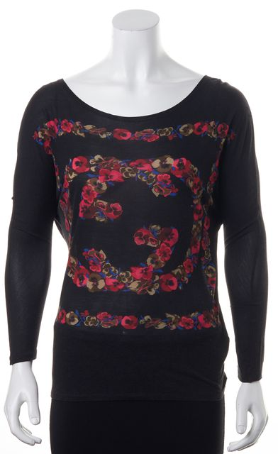 GUCCI Black Pink Floral 'GG' Printed Knit Jersey Tee Top