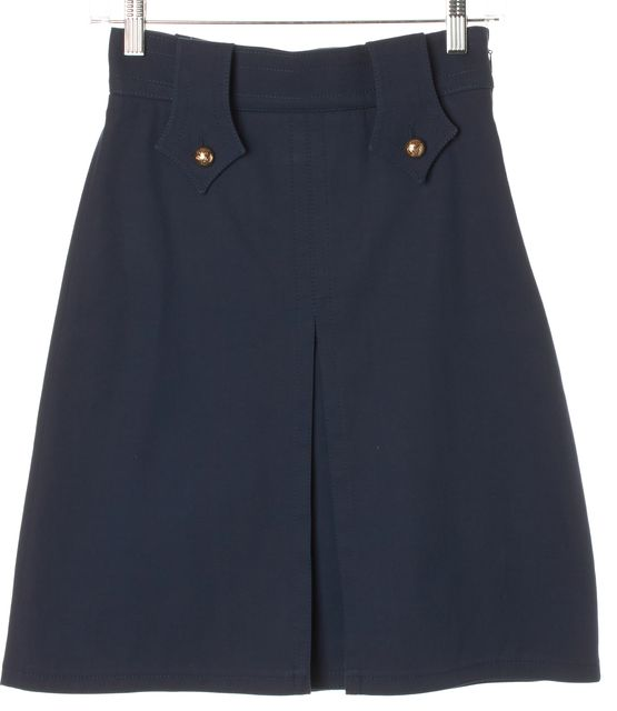 GUCCI Blue Gold Button Pleated Above Knee A-Line Skirt