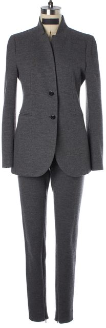 GUCCI Gray Felted Wool Two Button Blazer Slim Pant Suit Set