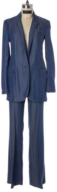 GUCCI Blue Soft Denim One Button Blazer Flared Leg Pant Suit Set