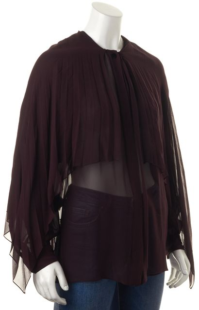 GUCCI Purple Silk Long Sleeve Sheer Blouse