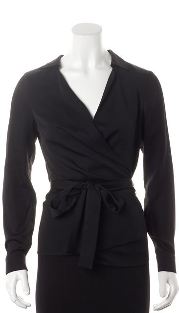 GUCCI Black Long Sleeve Collared Wrap Blouse