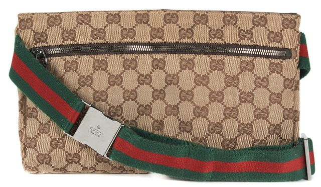 GUCCI Brown GG Monogram Canvas Leather Trim Two Pocket Waist Bag