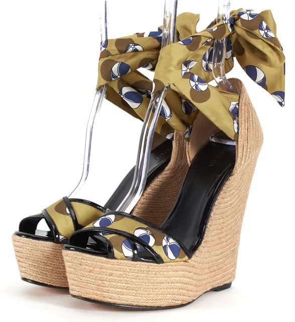 GUCCI Green Blue Printed Satin Patent Leather Trim Wedges Sandals