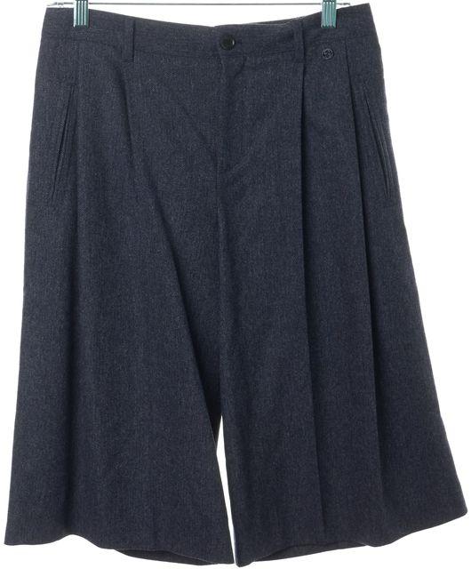 GUCCI Gray Wool Blend Pleated Bermuda Dress Shorts