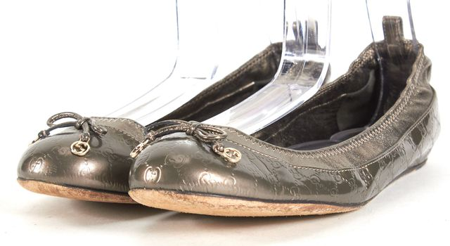 GUCCI Gray Pewter Monogram Patent Leather Ballet Flats