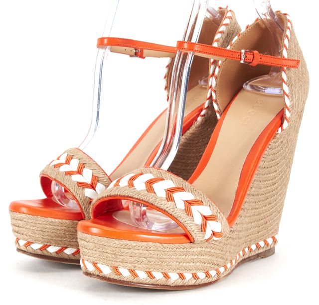 GUCCI Orange White Leather Braided Espadrilles Ankle Strap Wedges