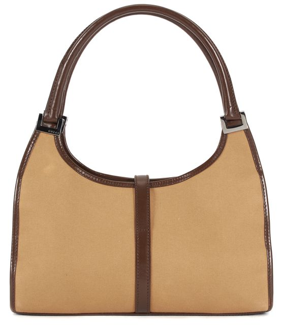 GUCCI Beige Brown Yellow Canvas Bardot Top Handle Shoulder Bag