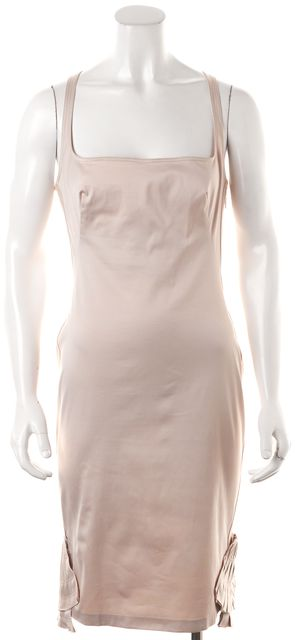 GUCCI Blush Pink Cotton Embroidered Hem Square Neck Sheath Dress