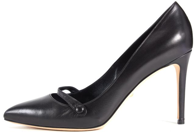 GUCCI Black Leather Pointed Toe Cross Strap Pump Heels