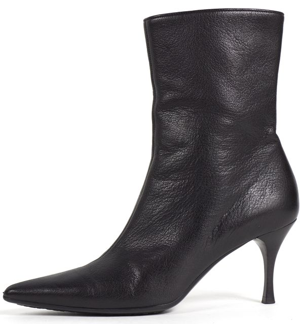 GUCCI Black Leather Pointed Toe Heeled Ankle Boots