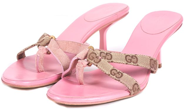 GUCCI Pink Suede GG Canvas Slip-On Sandal Heels