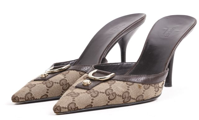 GUCCI Brown GG Canvas Leather Trim Pointed Toe Slip-On Heels