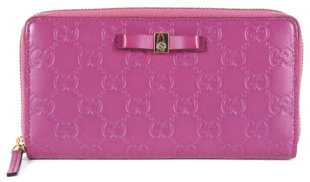 GUCCI Pink Guccissima Continental Full Zip Wallet